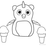 Hatchimals Coloring Pages Penguala with Icecream