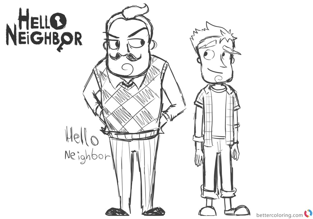 Hello Neighbor Coloring Pages Characters Drawing by abrilk printable for free