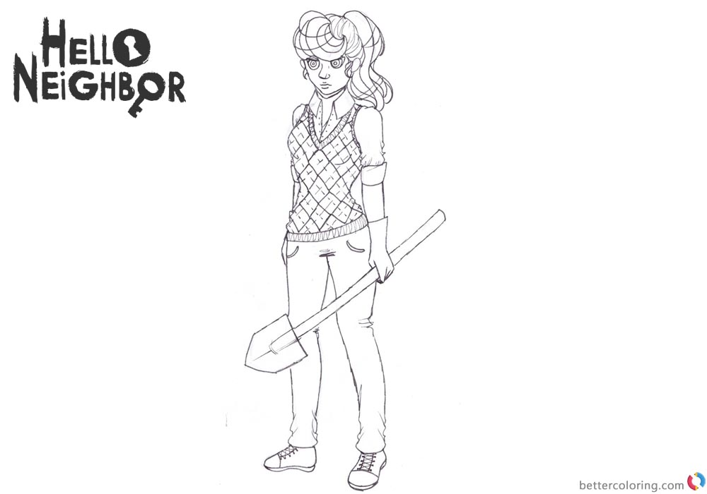 Hello Neighbor Coloring Pages Female Character printable for free