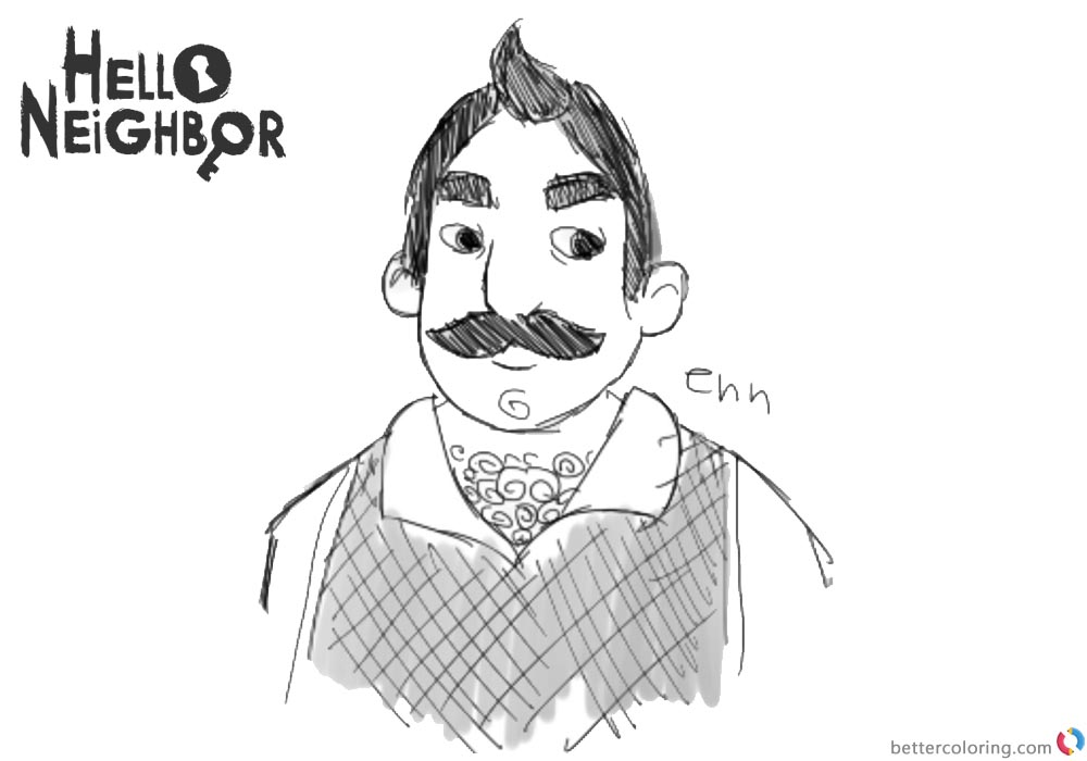 Hello Neighbor Coloring Pages Mr.Peterson by itsnotsugar printable for free