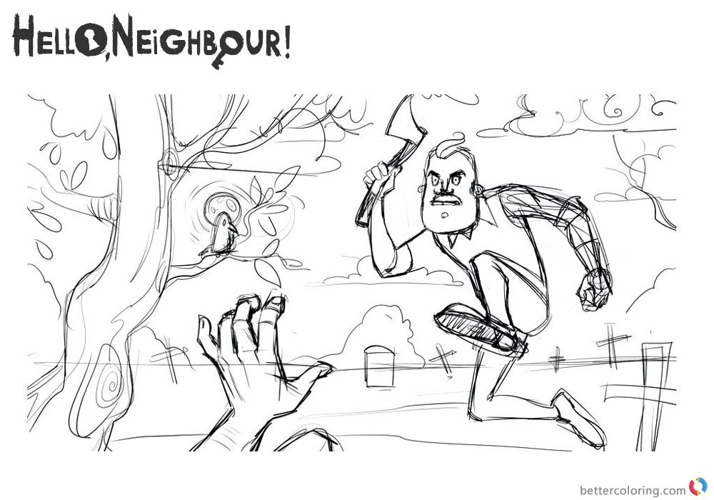 Hello Neighbor Coloring Pages Mr.Peterson is Fighting printable for free
