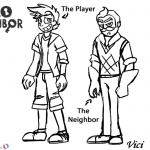 Hello Neighbor Coloring Pages Player and Neighbor
