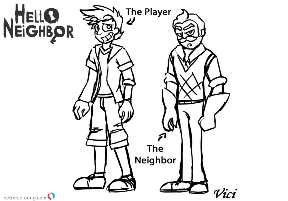 Hello Neighbor Coloring Pages Player and Neighbor printable for free