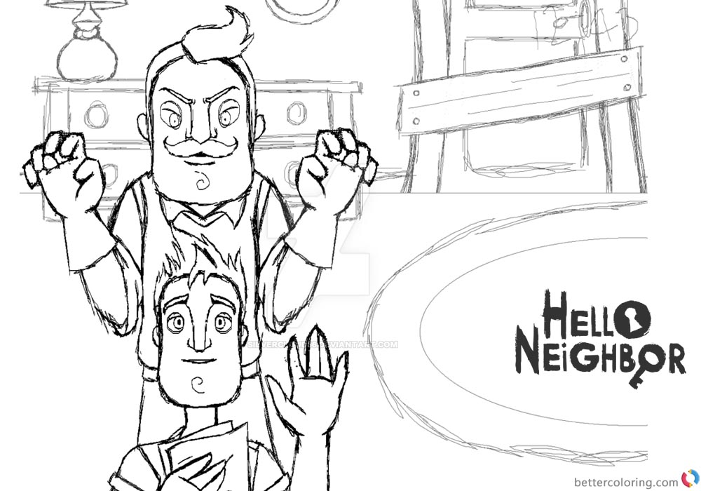Hello Neighbor Coloring Pages Sketch by silvercloud36 printable for free