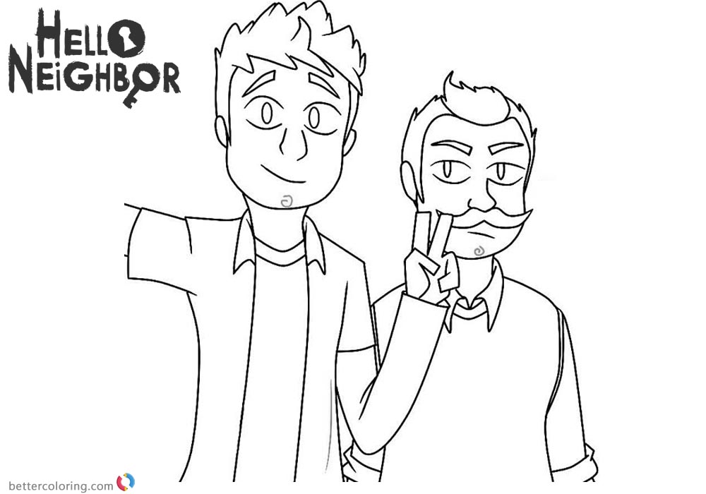 Hello Neighbor Coloring Pages The Player Nicky and Mr Peterson printable for free