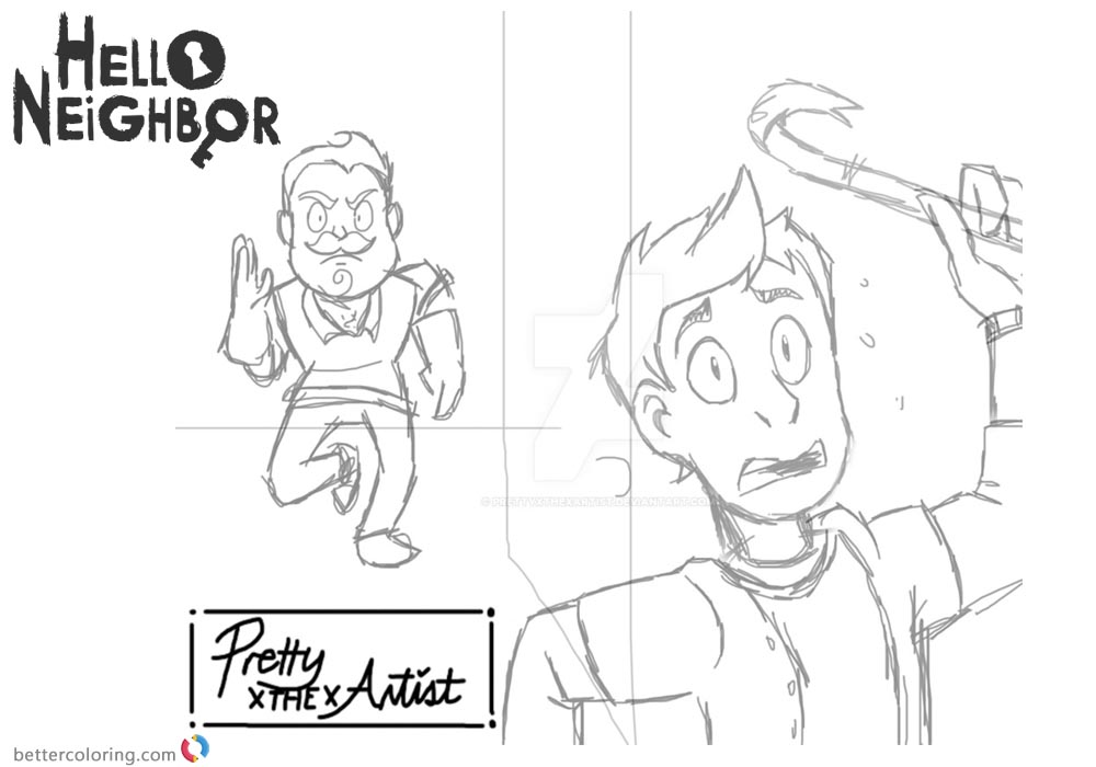 Hello Neighbor Coloring Pages WIP by prettyxthexartist ...