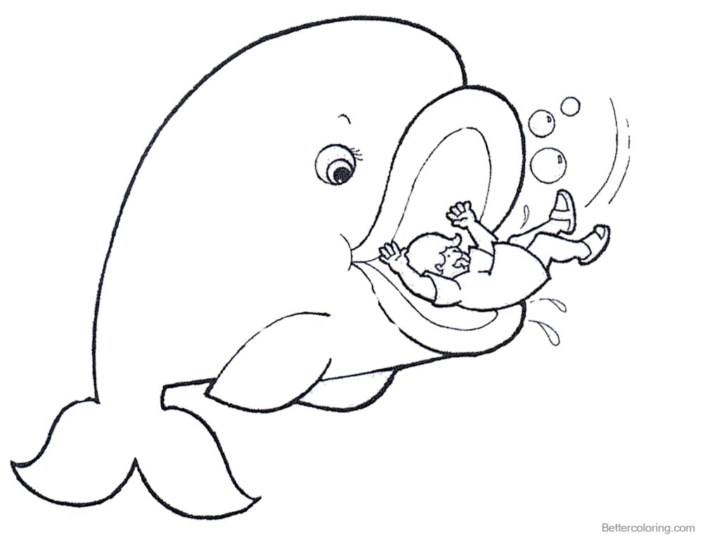 Jonah And The Whale Coloring Pages Cartoon Drawing printable for free
