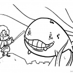 Jonah And The Whale Coloring Pages Cartoon Line Art