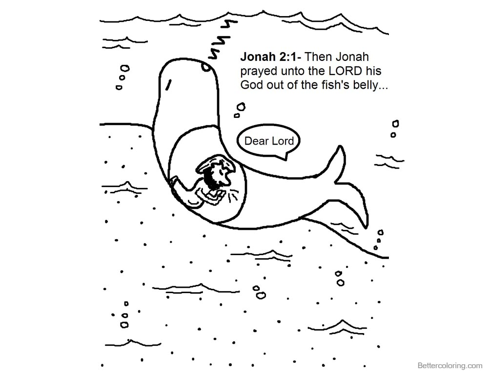 Jonah And The Whale Coloring Pages Jonah Prayed - Free Printable ...