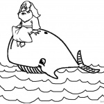 Jonah And The Whale Coloring Pages Jonah Sit on the Whale's Head