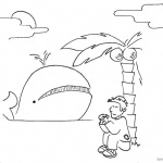 Jonah And The Whale Coloring Pages Jonah Sit under Tree