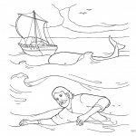 Jonah And The Whale Coloring Pages Jonah Swimming in the Water