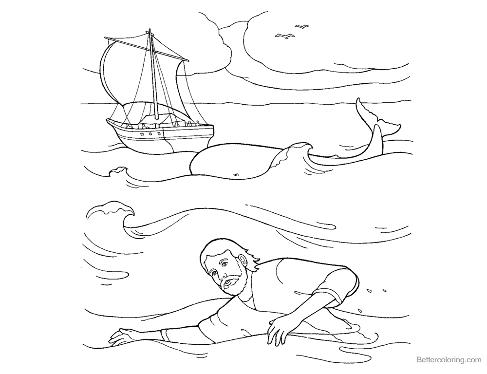 Jonah And The Whale Coloring Pages Jonah Swimming in the Water printable for free