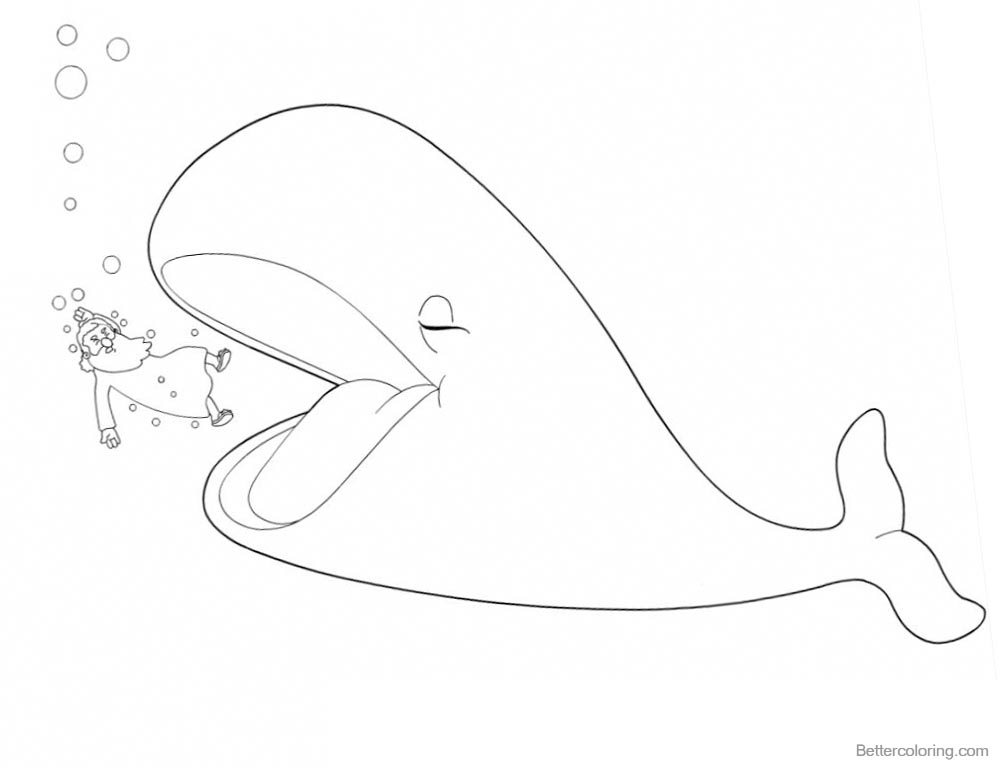 Jonah And The Whale Coloring Pages Line Art printable for free