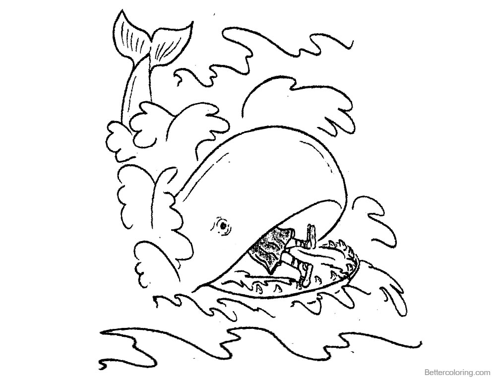 Jonah And The Whale Coloring Pages Line Drawing printable for free