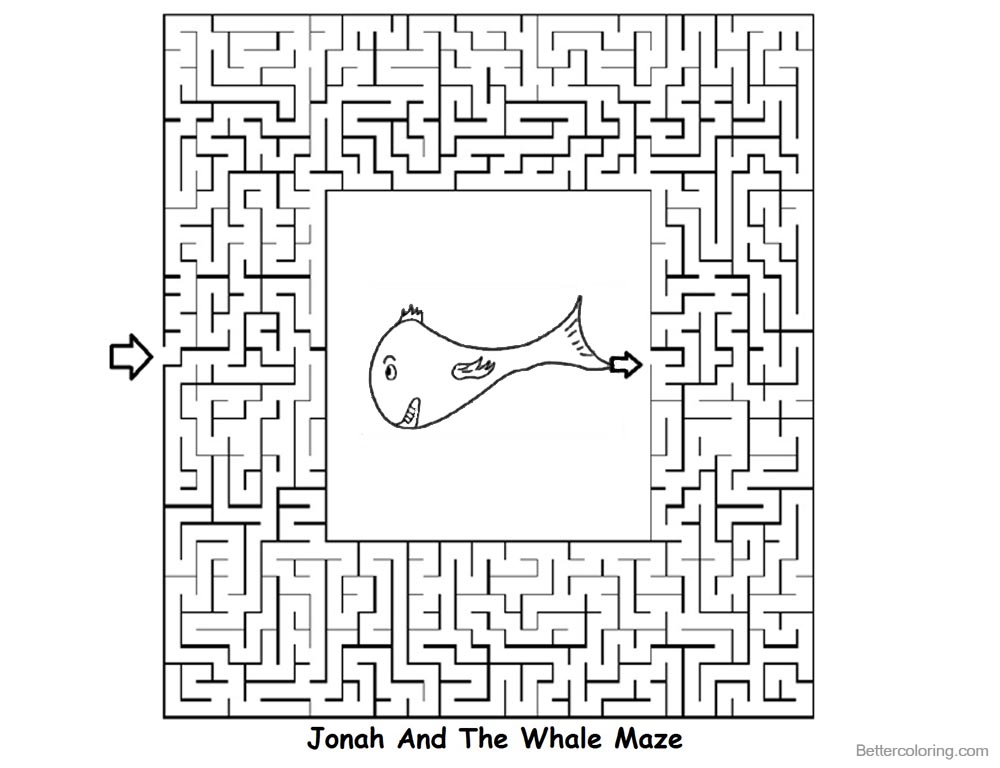 Jonah And The Whale Coloring Pages Maze - Free Printable Coloring Pages