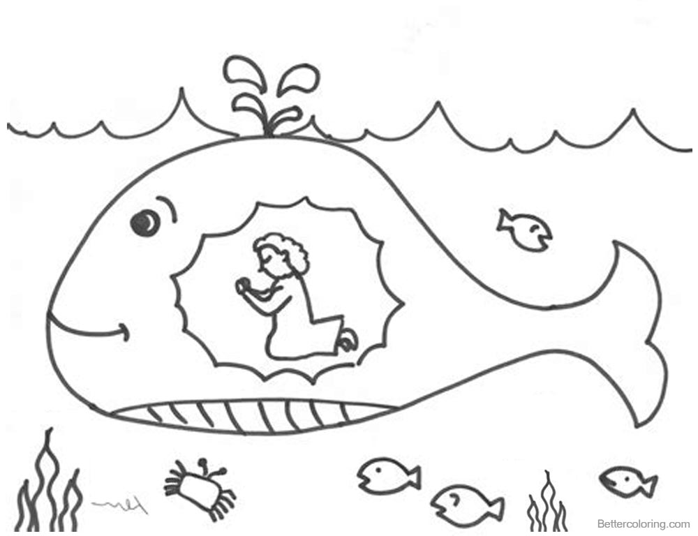 Jonah And The Whale Coloring Pages Praying Free