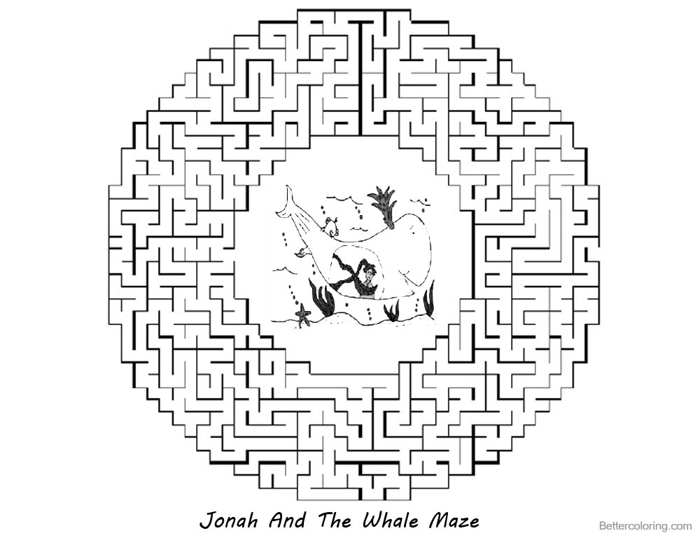 Jonah And The Whale Coloring Pages Round Maze printable for free