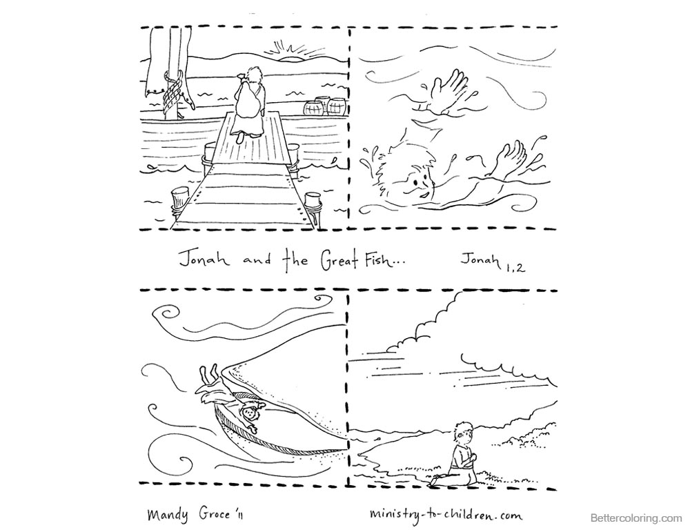 Jonah And The Whale Coloring Pages Story Pictures printable for free