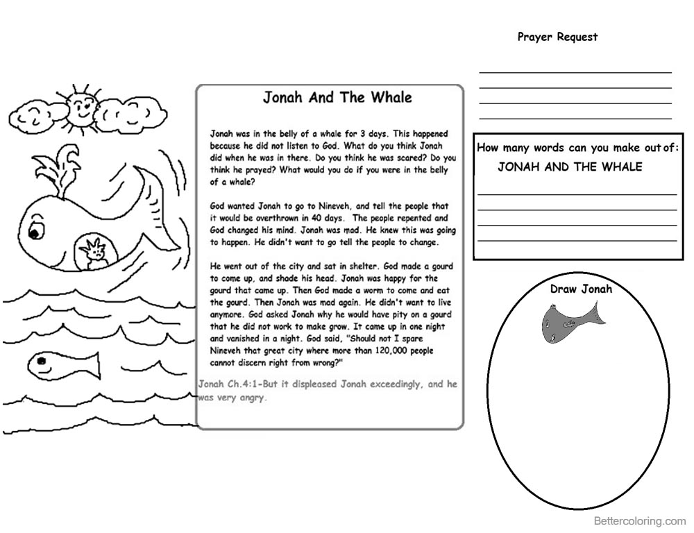 Amazing Jonah Coloring Pages Activities Composition