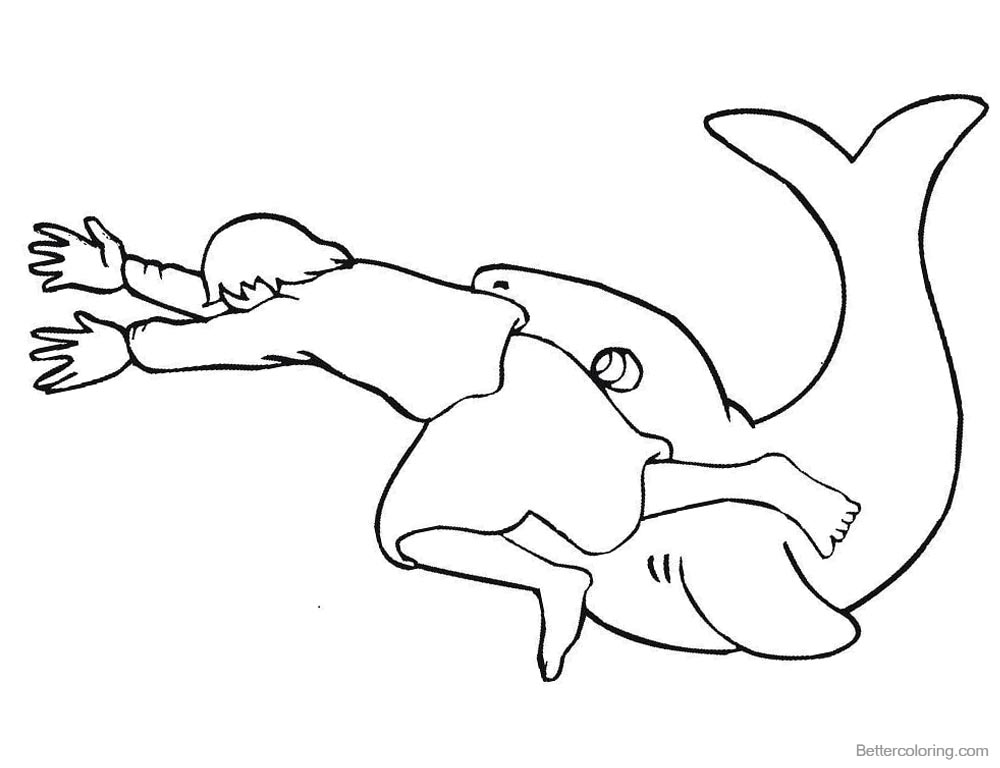 Jonah And The Whale Coloring Pages The Big Fish And Jonah Free