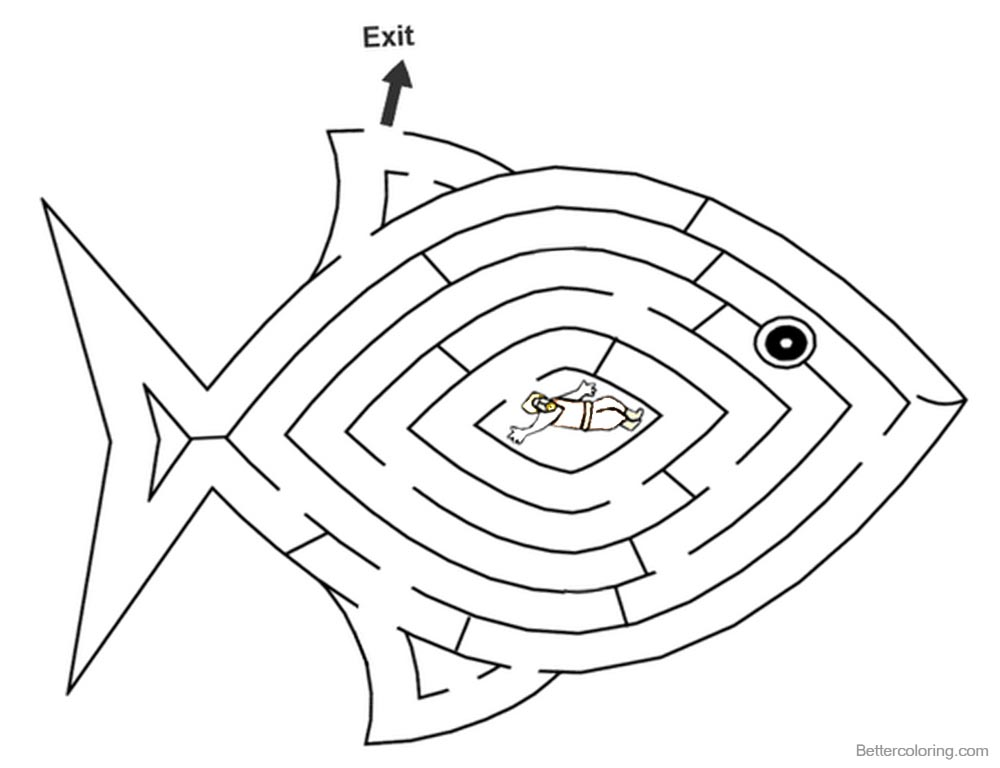 Jonah And The Whale Coloring Pages Whale Fish Maze printable for free