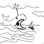 Jonah And The Whale Coloring Pages Whale Open his Mouth