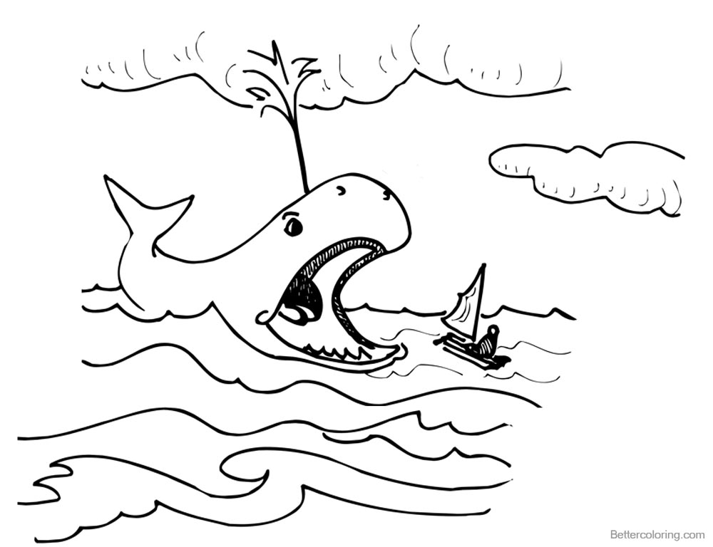 Jonah And The Whale Coloring Pages Whale Open his Mouth printable for free