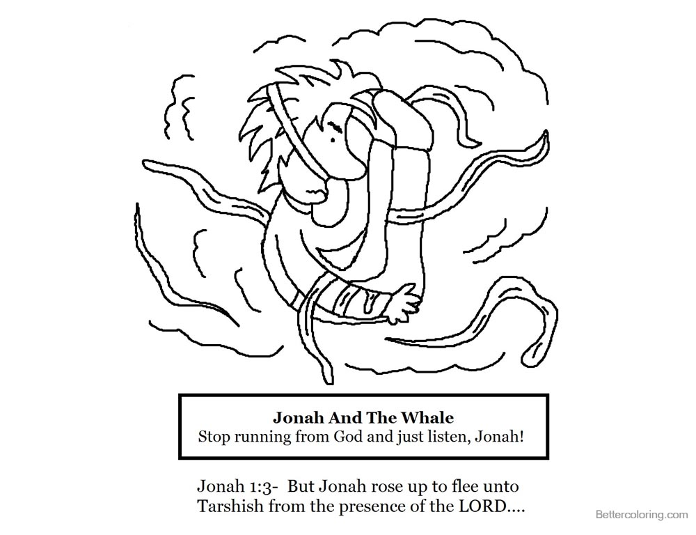 Jonah And The Whale Coloring Pages Whale Stop Running from God and Just Listen printable for free