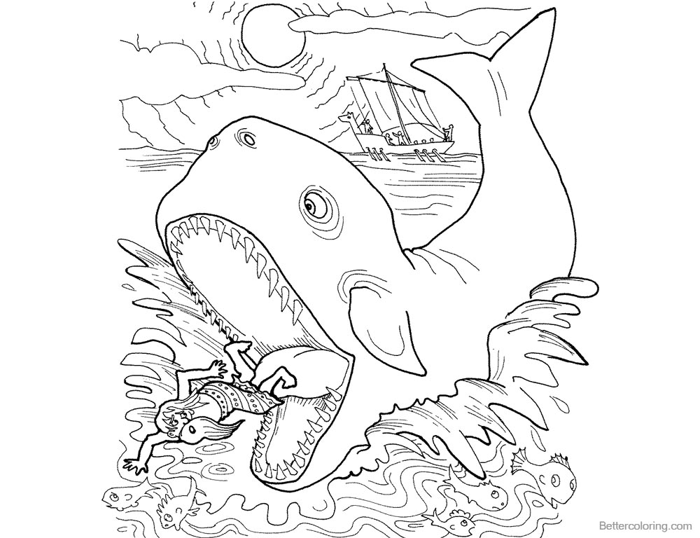 Jonah And The Whale Coloring Pages Whale Swallowed Jonah - Free ...