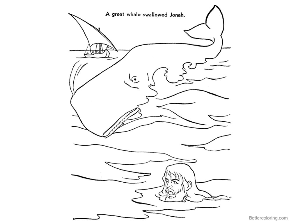 Jonah And The Whale Coloring Pages - Free Printable Coloring Pages