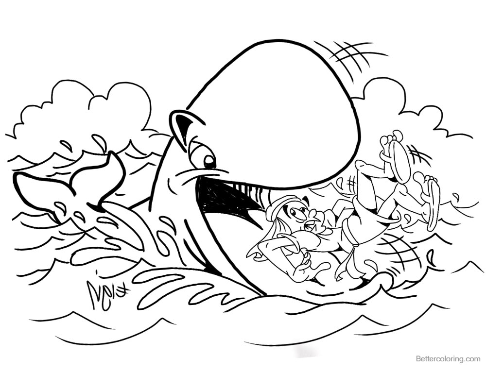 Jonah Swallowed by The Whale Coloring Pages Black and White printable for free