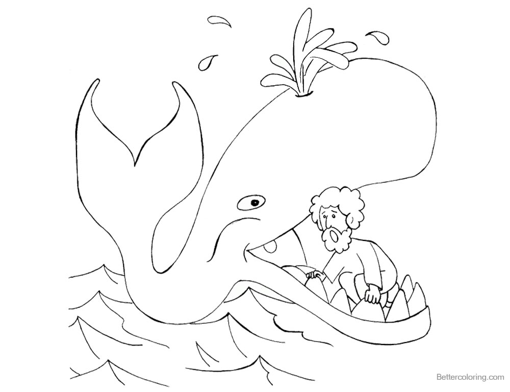 Jonah Swallowed by The Whale Coloring Pages Clipart printable for free