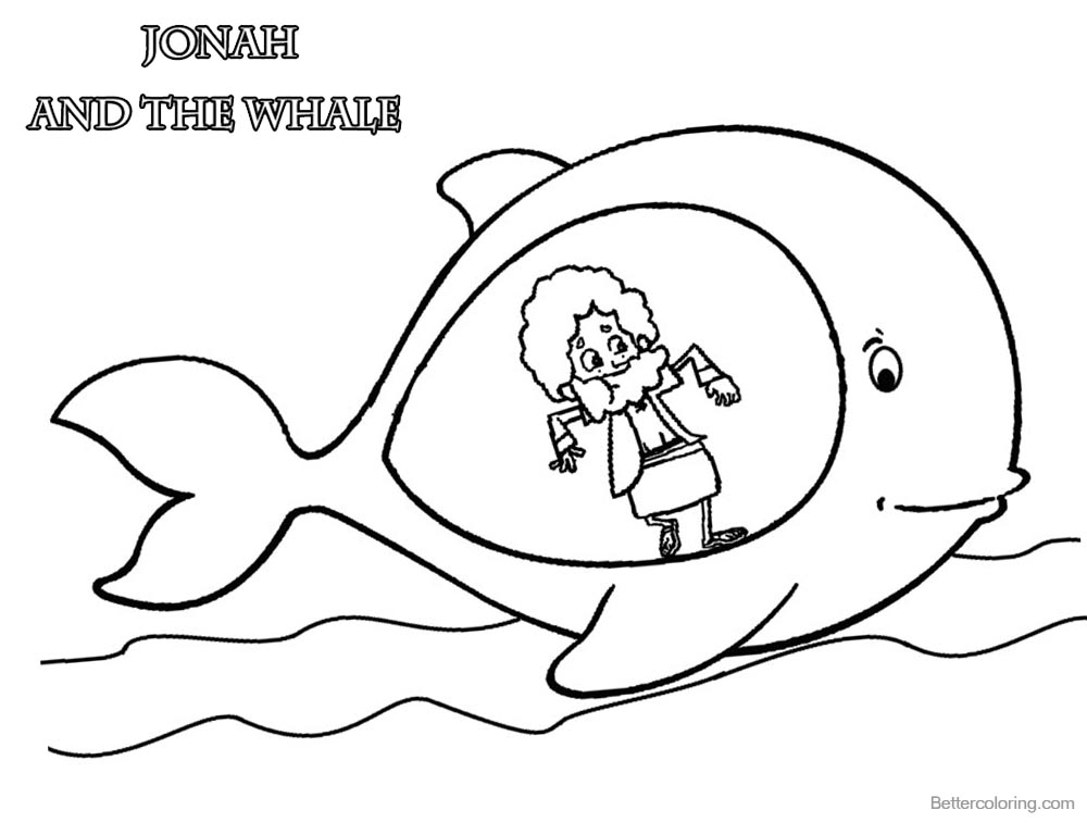 Jonah and The Whale Coloring Pages Jonah in Whale\'s Belly - Free ...