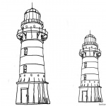 Lighthouse Coloring Pages Black and White Clipart