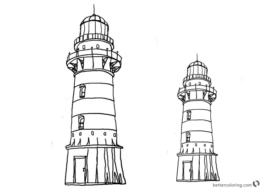 Lighthouse Coloring Pages Black and White Clipart printable for free