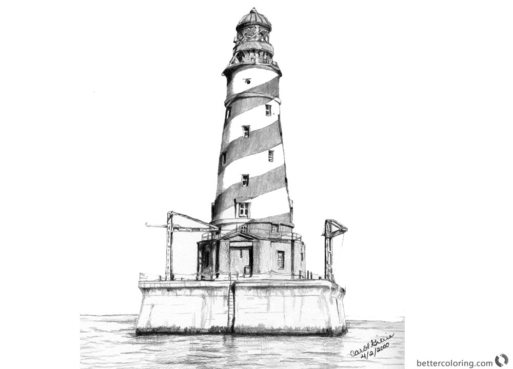 Lighthouse Coloring Pages Great Realistic Drawing printable for free