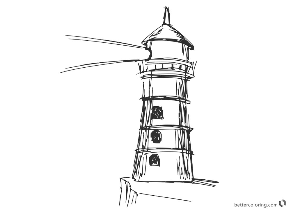 Lighthouse Coloring Pages Hand Drawn - Free Printable Coloring Pages