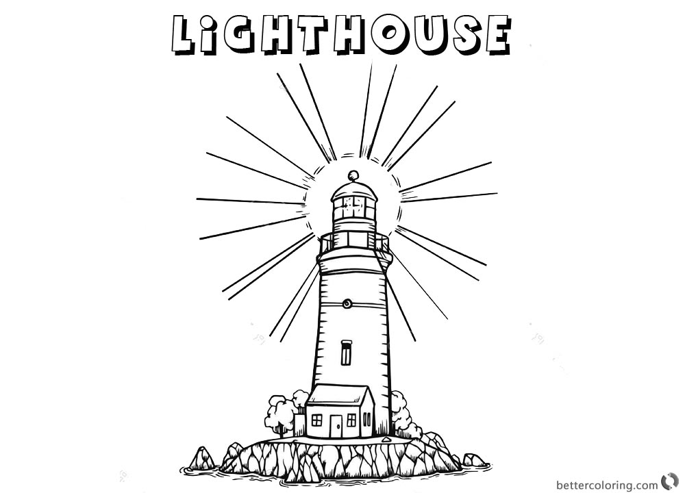 Lighthouse Coloring Pages Light On printable for free