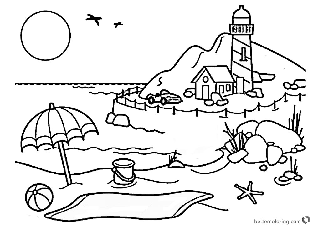 Lighthouse Coloring Pages Lighthouse by the Beach printable for free