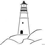 Lighthouse Coloring Pages Lighthouse on the Rocks
