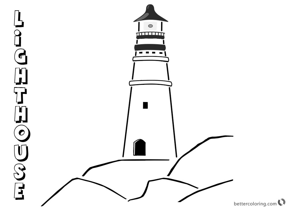 Lighthouse Coloring Pages Lighthouse on the Rocks printable for free
