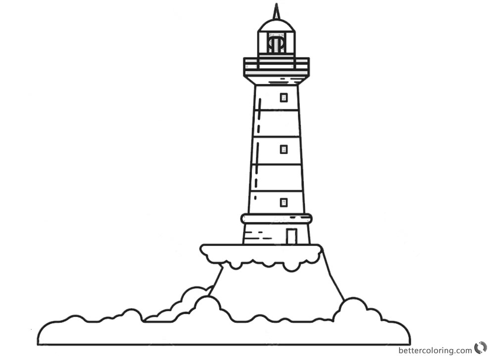 Line Art Lighthouse : Lighthouse and sea pages coloring