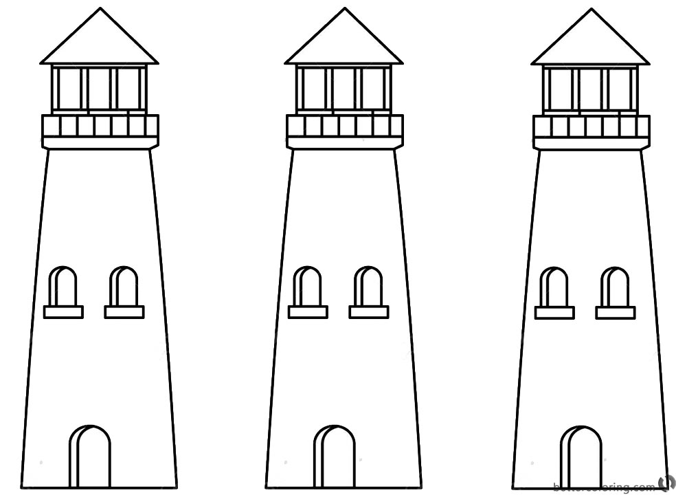 Lighthouse Coloring Pages Line Drawing