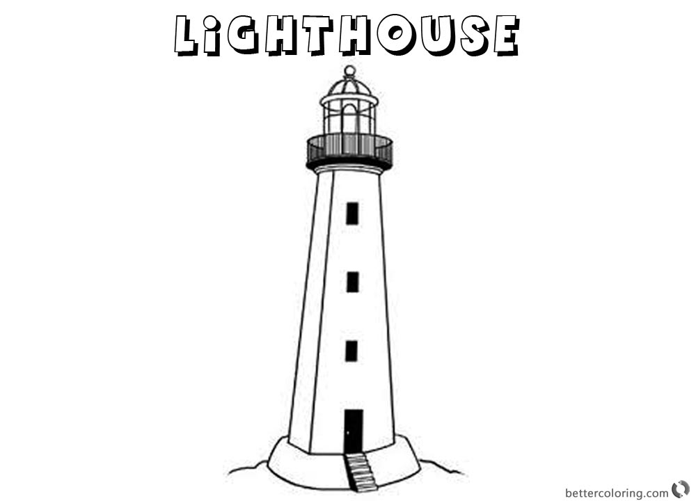 Lighthouse Coloring Pages Lineart Black and White printable for free