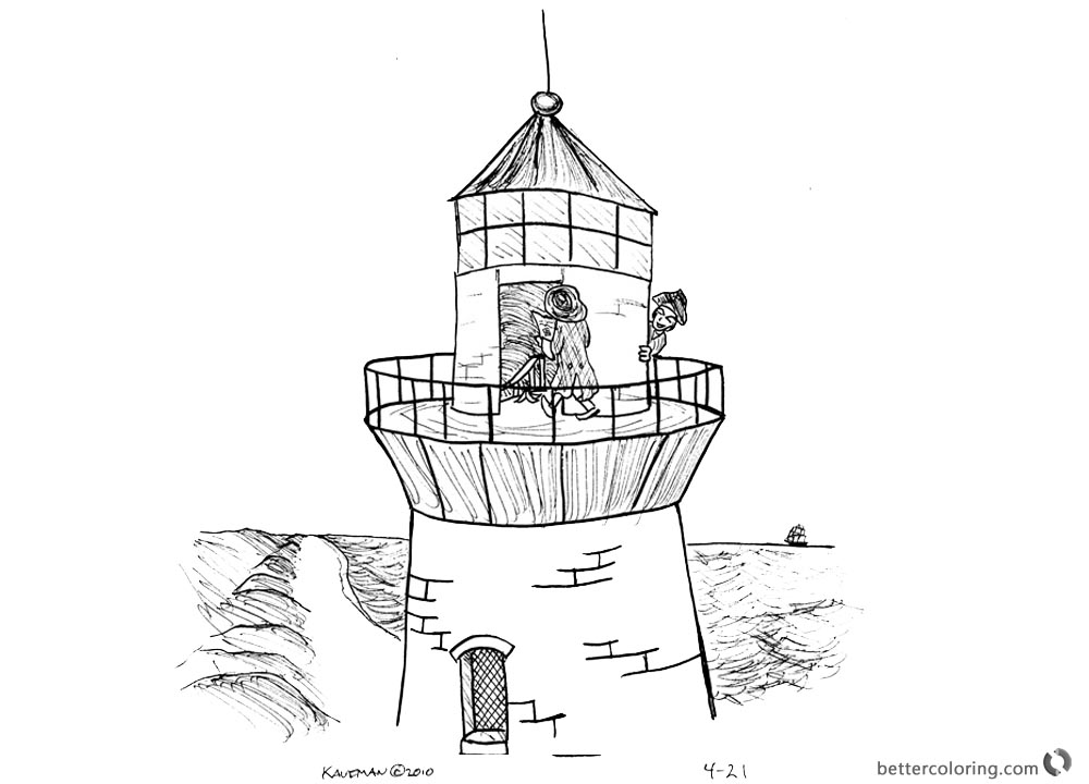 Lighthouse Coloring Pages Playing on the Lighthouse Humour printable for free