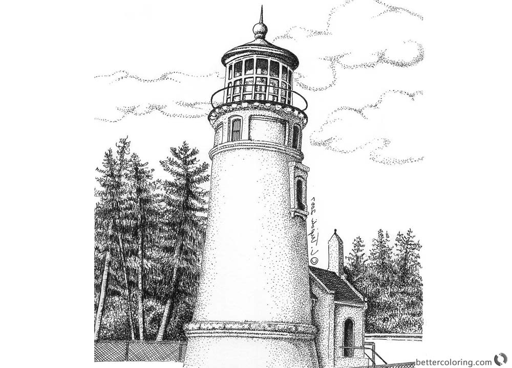 Lighthouse Coloring Pages Realistic Drawing printable for free