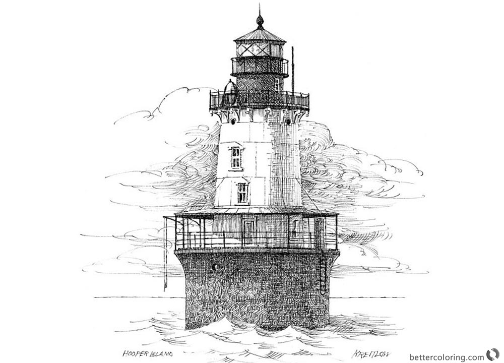 Lighthouse Coloring Pages Realistic Hand Drawing printable for free