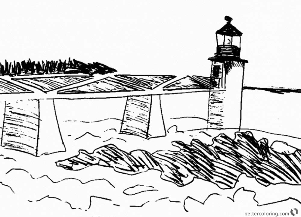 Lighthouse Coloring Pages Sketch printable for free