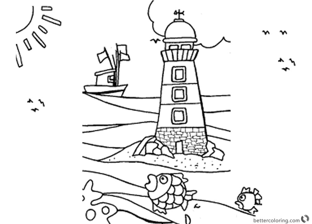 Lighthouse Coloring Pages The Boat